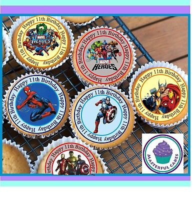 24 X Marvel Hero 11Th Birthday Edible Cupcake Toppers Wafer Paper,icing & Precut