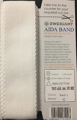 Zweigart Aida Band 5cm Wide 14 Count White - Cut To Size