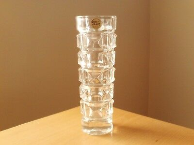 VINTAGE 1970s CRYSTAL D'ARQUES 24% LEAD CRYSTAL FOUR SIDED VASE ANCENIS PATTERN