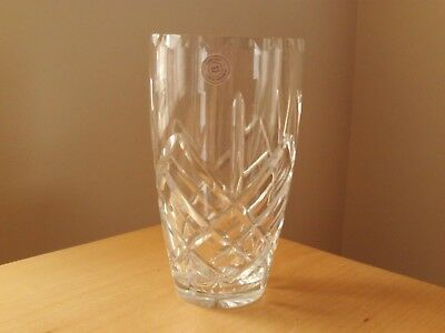 "Vintage Czech Republic Hand Cut 24% Crystal Glass Vase ~ 7"" High."