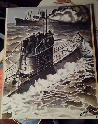 German U boat Orignal Art Robin Groves 1941 Watercolor WW2 Sinking ship Painting