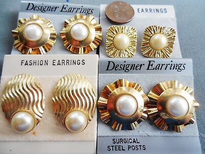 Vintage NOS lot of 4 prs classic w/ style gold tone faux pearl pcd earrings D12