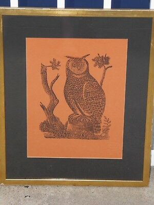 """Vintage Parson Jonathan Fisher Woodcut Print Raised Seal """"Great Owl"""" Picture"""