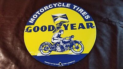 Vintage Goodyear Porcelain Gas Motorcycle Tires Service Station Pump Plate Sign