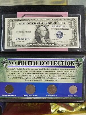 US No motto Collection 1935 G Silver Cert. Indian Cent Nickels Barber Dime