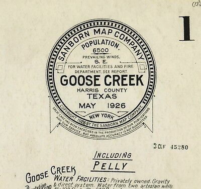 Goose  Creek, Texas~Sanborn Map© sheets~on CD~13 maps in color made in 1926