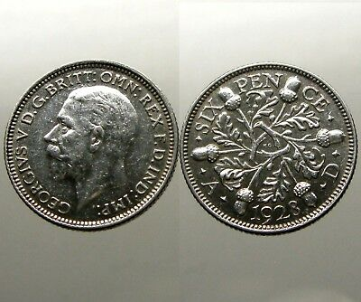 KING GEORGE V SILVER SIXPENCE___Great Britain___DATED 1928___Oak Leaves & Acorns