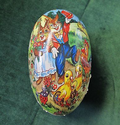 Vintage Large Papier Mache Easter Egg Candy Container Bunnies Ducks & Bluebirds
