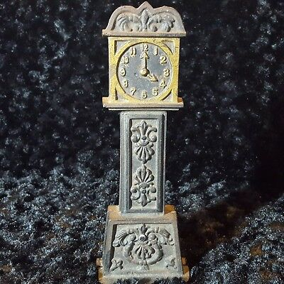 """Antique Cast Iron ADULT ONLY Figural STILL BANK Grandfather Clock 9.25"""" & HEAVY"""