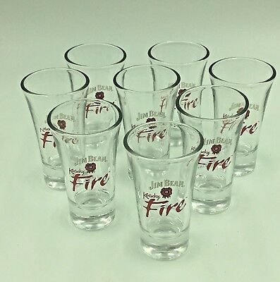 "Set of (8) JIM BEAM ""Kentucky Fire"" Branded SHOT GLASS GLASSES *NICE SHAPE*"