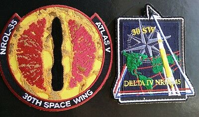 Orig USAF NRO VAFB 30SW 2ROPS, NROL-35 & NROL-45 Satellite Launch Patch Set-2pcs