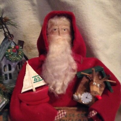 Handmade Primitive Santa in an Old Cheesebox with Lights!