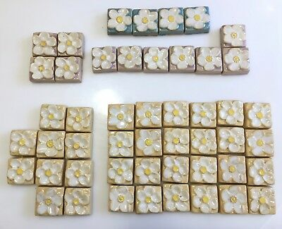 49 Calco Pottery Flower Tiles w yellow, pink, teal backgrounds (1923-1932)