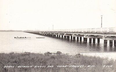 Vintage Real Photo Postcard Bridge Between Biloxi & Ocean Springs Mississippi