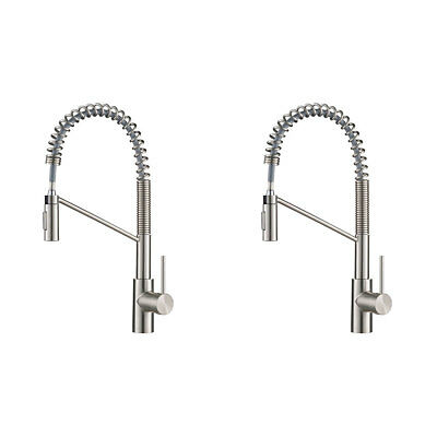 Kraus Oletto Single Handle Pull Down Kitchen Faucet, Stainless Steel (2 Pack)