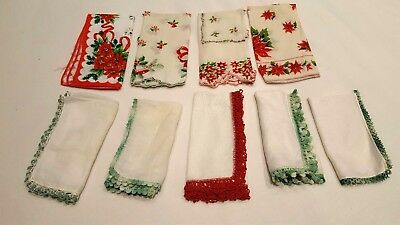 Lot of 9 Vtg Christmas Hankies and Colors Scalloped/Crochet/Tatted All Cotton