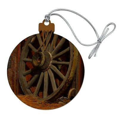 Wagon Wheel and Chipmunk Wood Christmas Tree Holiday Ornament