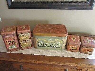 RETRO 1970s Metal BREAD BOX CHEIN Co. USA w/ Matching 4 PIECE CANISTER SET RARE