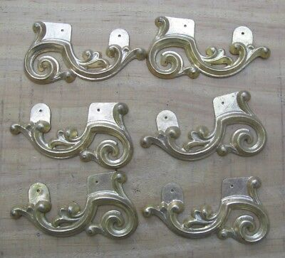 6 Antique Architectural Salvage Art Deco Ormulu Applique Pediment Trim Pieces v