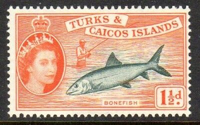 1957 TURKS & CAICOS ISLANDS 1½d bonefish SG238 mint very light hinged