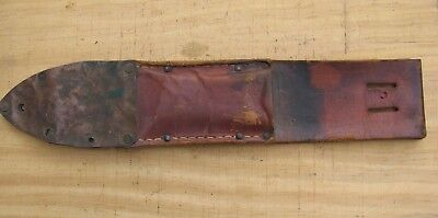 Antique Original Fixed Knife Leather Sheath with Riveted Copper End~Folk Art? l