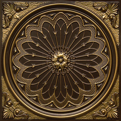 Faux Tin Decorative PVC Ceiling Tile 2'x2' - Antique Brass #238 Drop-in/Glue-up