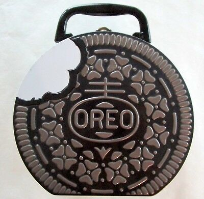Oreo Cookie Metal Round Embossed  Lunch Tin  Box Storage Handle Lunchbox