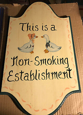 No Smoking Sign Hand Painted on Solid Wood Board
