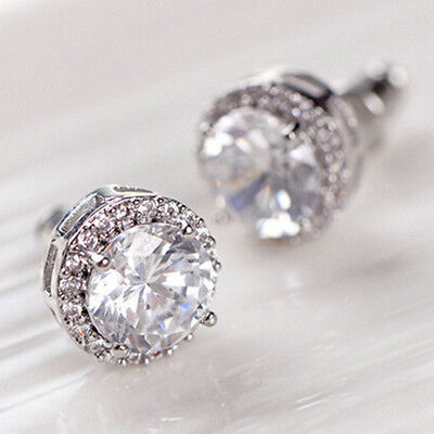 Women's 18K White Gold Plated Crystal Zircon Inlaid Ear Stud Earrings Gift
