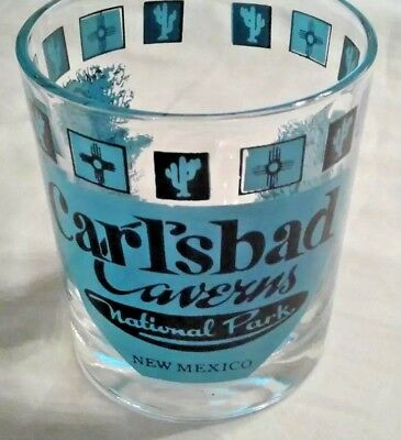 Retro Carlsbad Caverns National Park New Mexico Lowball Glass Turquoise Black