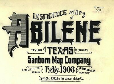 Abilene, Texas~Sanborn Map© sheets~on CD~22 maps in color made 1908