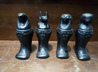 ANCIENT EGYPTIAN SET 4 CANOPIC JARS Antique Statues Pharaoh Egypt Organs Storage