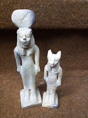 ANCIENT EGYPTIAN ANTIQUE Statue of Goddess God Sekhmet and bast-Bastet 600 Bc
