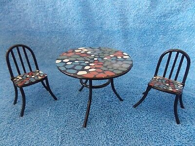 Miniature Dollhouse Black Metal Patio Table & 2 Chairs & Kelly Doll Size Diorama