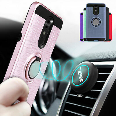 For LG Stylo 4/4+/4 Plus Armor Ring Stand Phone Case Cover + Car Air Vent Holder