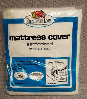 VINTAGE FRUIT OF THE LOOM SANFORIZED ZIPPERED MATTRESS COVER for FULL Size