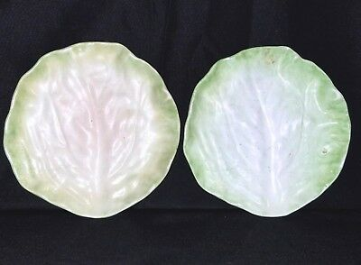"Antique Majolica WANNOPEE POTTERY LETTUCE LEAF Plates 6 ½"" – set of 2"