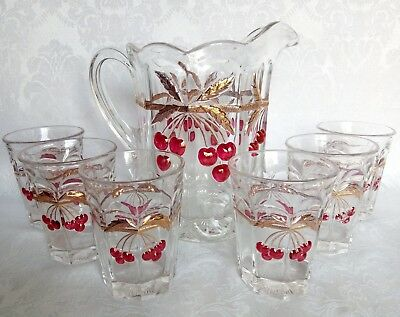 Vintage Mosser Glass Cherry & Cable Lemonade/Beverage Set Pitchet & 6 Cups