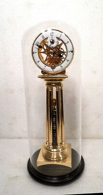 Coil Spring Mechanical Fusee Driven Shelf Clock--24K Gold Plated Clock With Dome