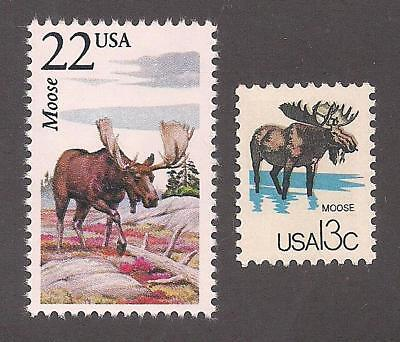 Moose - Set Of 2 U.s. Postage Stamps - Mint Condition