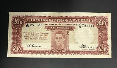 1949 TEN 10 POUND  - COOMBS/WATT - GEORGE VI - CIRCULATED CONDITION Pounds