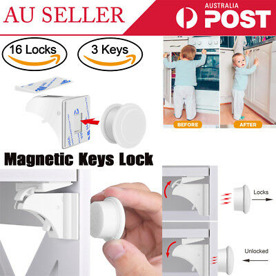 16x Magnetic Lock Keys For Child Kids Baby Safety Drawer Door Cupboard Cabinet