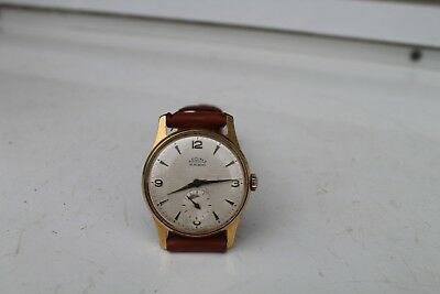 Old Vintage Man Wrist Watch  Chech Prim 15Jewels Gold Plated