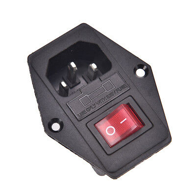 NEW 3 Pin AC Inlet Male Plug Power Socket With Fuse Switch 10A 250V 3PinFE