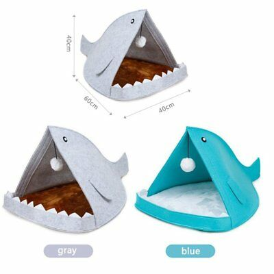 Shark Mouth Felt Pet Dog Cat Puppy House Soft Bed Mat Kennel Cozy Nest Cushion