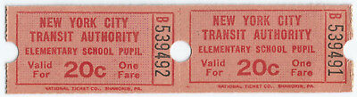 Vintage New York Transit Pupil's Ticket 20¢ Fare Connected Pair of 2