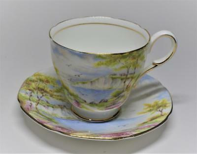 Vintage 40s PARAGON Bone China England CLIFFS of DOVER Set Footed Cup & Saucer
