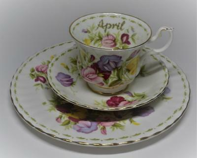 ROYAL ALBERT Flower of Month Series APRIL SWEET PEA Trio Set Cup Saucer & Plate