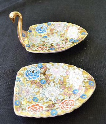 50s Ardalt China Japan Lawine Porcelana Cisne Forma Juego 2 Pieces Cenicero