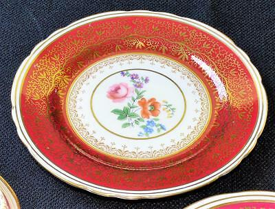 "30s AYNSLEY Bone China England Red BERKELEY #7741 6 1/4""d Bread & BUtter Plate"